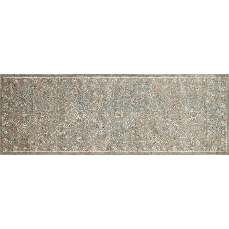 Alcott Hill Adelbert Bluestone Area Rug, Size: Rectangle 28 x 76