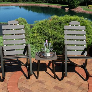 Ebern Designs Castleford Slatted Rocking 3 Piece Person Seating Group with Cushions