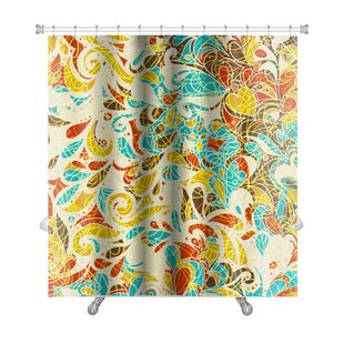 Kilo Retro Mosaic Leaf Pattern Premium Single Shower Curtain