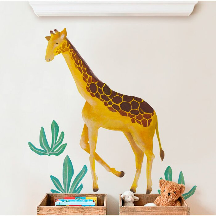 Barcomb Giraffe Wild Animals, Tropical Leaves 4-Piece Set Wall Decal