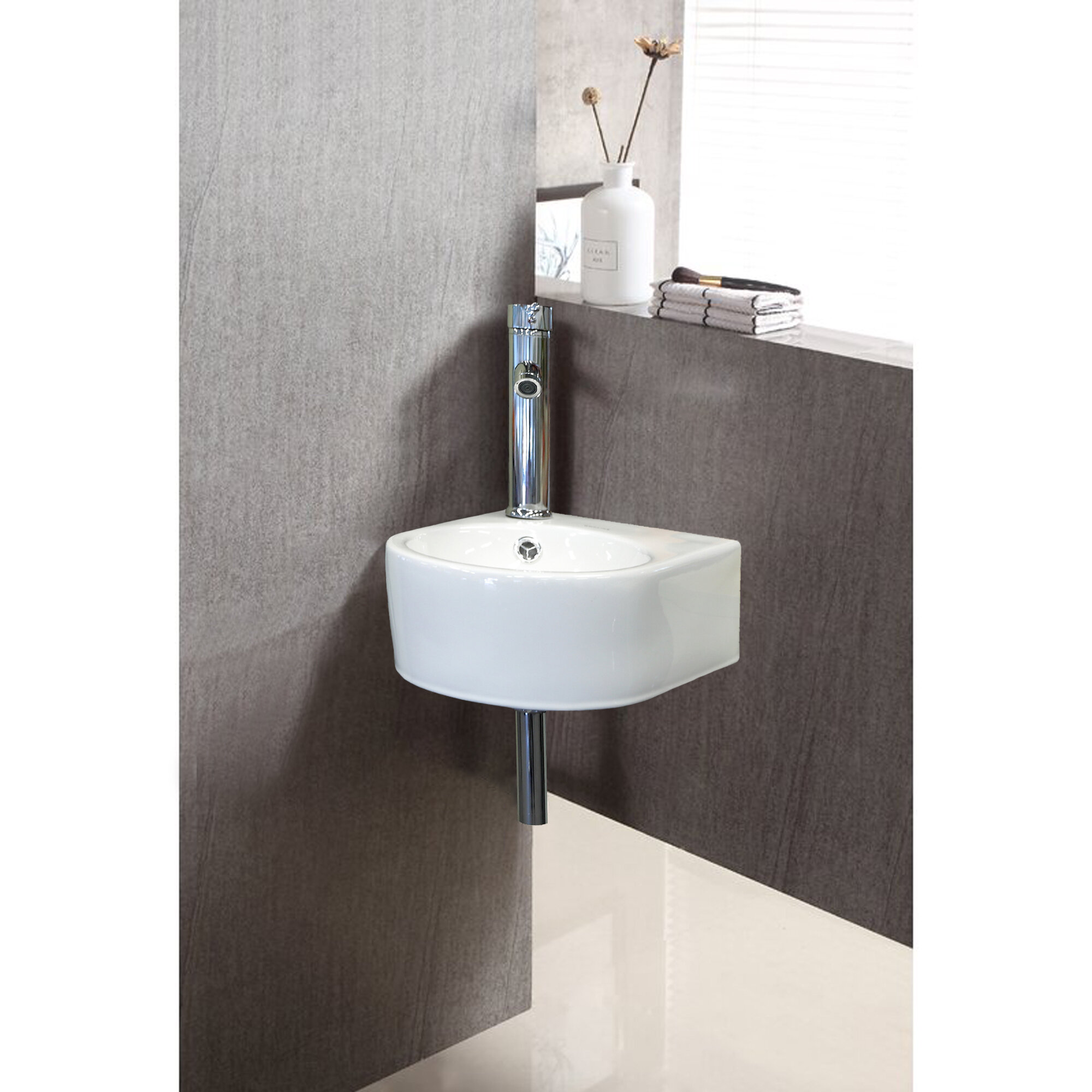 Jushua White Ceramic U Shape Wall Mount Bathroom Sink With Faucet And Overflow Wayfair