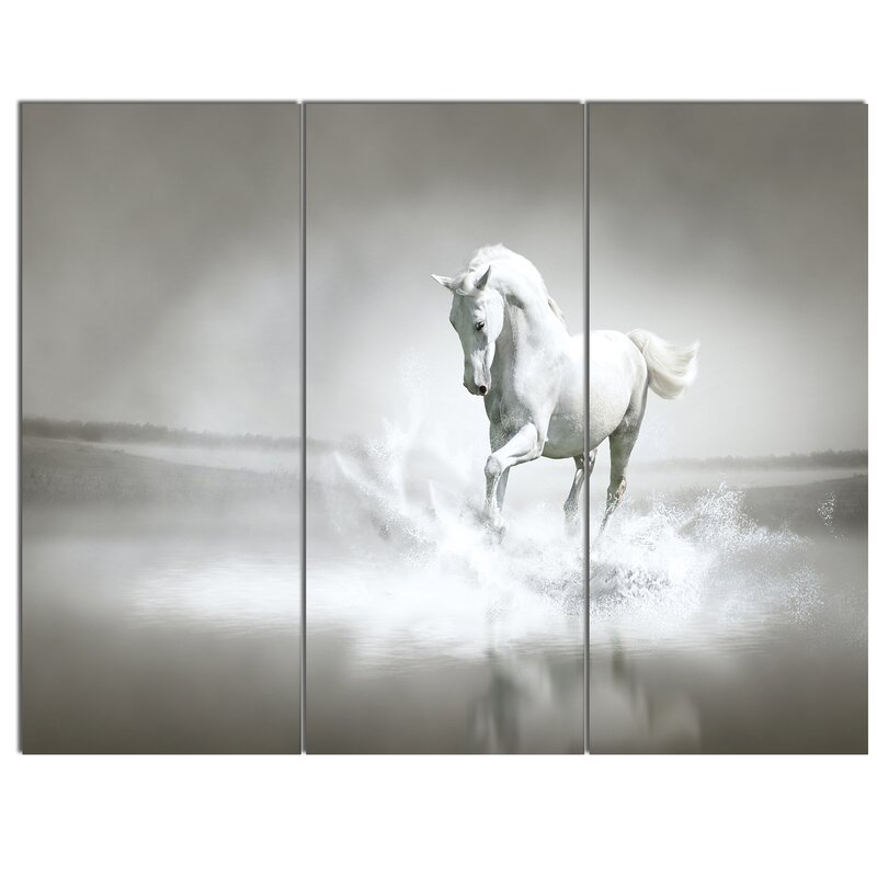 White Horse Running In Water 3 Piece Wall Art On Wred Canvas Set