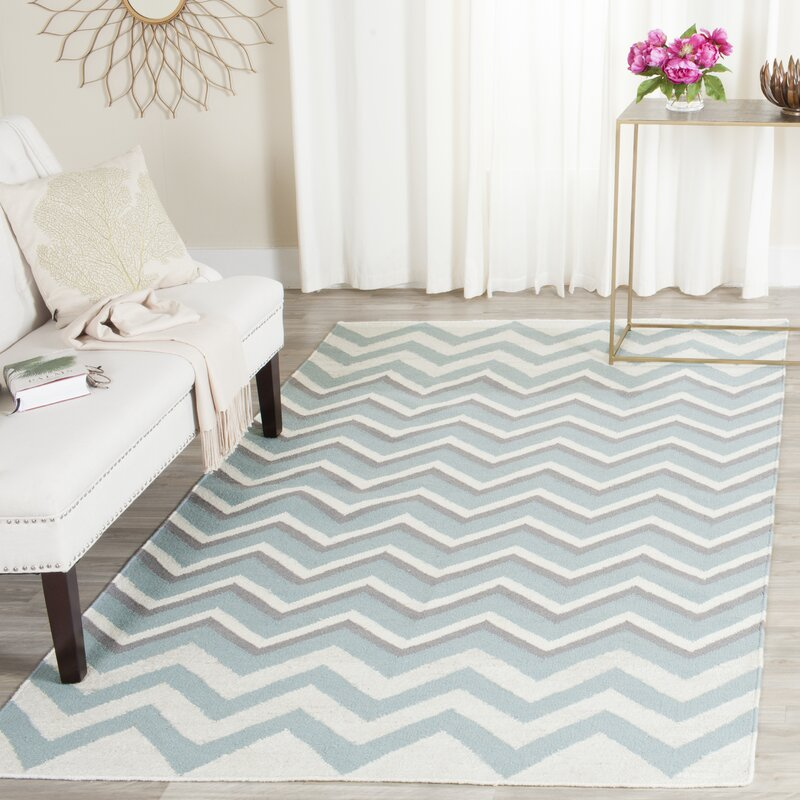 Cooper Dhurrie Hand Woven Blue White Area Rug