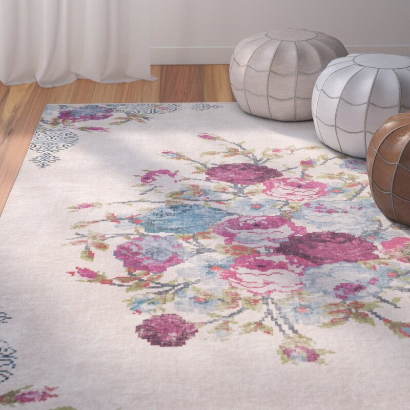 Bungalow Rose Janiyah Floral And Plants Ivory Area Rug Reviews Wayfair