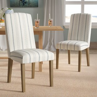 Lake Kathryn Stripe Upholstered Dining Chair (Set of 2) Beachcrest Home