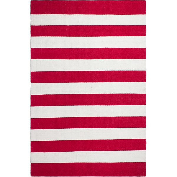 Gladys Red White Area Rug