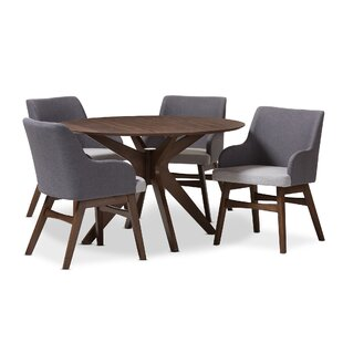 Monte Mid-Century Modern Wood Round 5 Piece Dining Set Wholesale Interiors