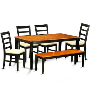Pillar 6 Piece Dining Set with Rectangular Table Top August Grove