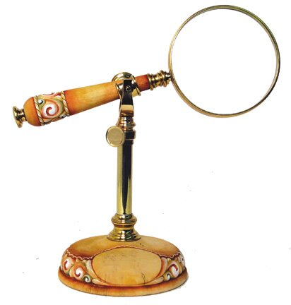 Dollhouse Handcrafted Magnifying Glass with Clear Lens Red Handle Miniature