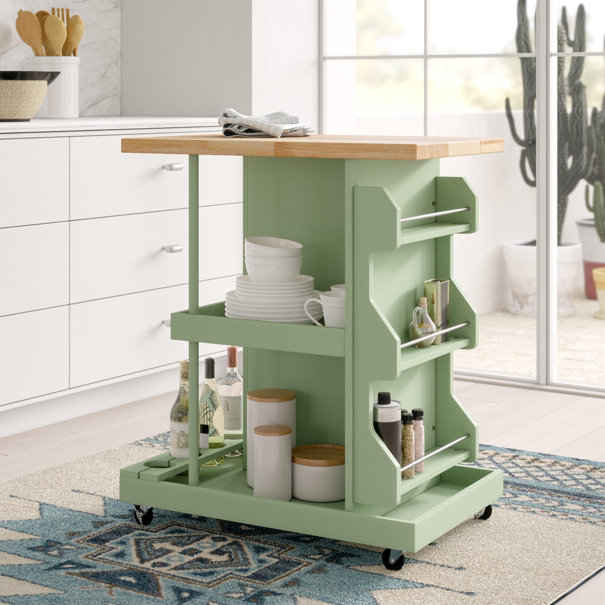 Mistana Diaz Kitchen Cart With Wood Top Reviews Wayfair