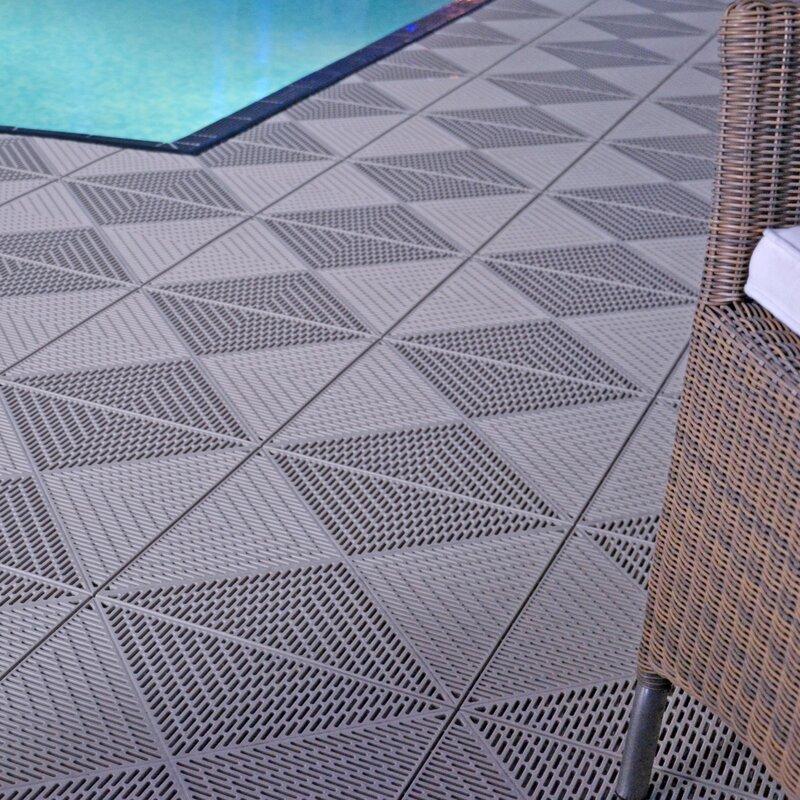 Mats Inc Bergo Unique 14 9 X 14 9 Plastic Deck Tiles In Gray Reviews Wayfair