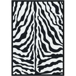 Braunstein Zebra Glam Black Ink Area Rug ByWorld Menagerie