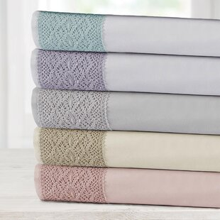 Sabrina 4 Piece Crochet Lace Solid Color Sheet Set