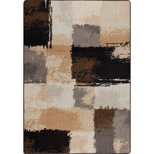 Mix and Mingle Black/Tan Fair And Square Rug by Milliken