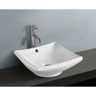 Price comparison Courtyard Ceramic Square Vessel Bathroom Sink with Overflow ByKingston Brass