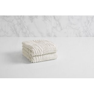 Dynasty Wave Textured Jacquard 100% Cotton Hand Towel by Natori