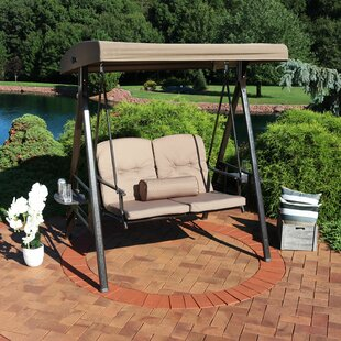 Woodley 2-Person Adjustable Tilt Canopy Patio Loveseat Porch Swing by Freeport Park