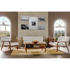 white living room furniture sets. Calla 3 Piece Living Room Set Modern White Sets  AllModern