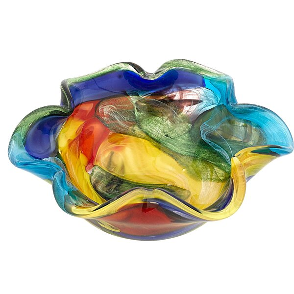 Orren Ellis Rainbow Murano Style Art Floppy Centerpiece Decorative Bowl Reviews Wayfair
