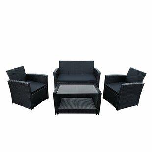 ALEKO Lipari 4 Piece Rattan Sofa Set with Cushions