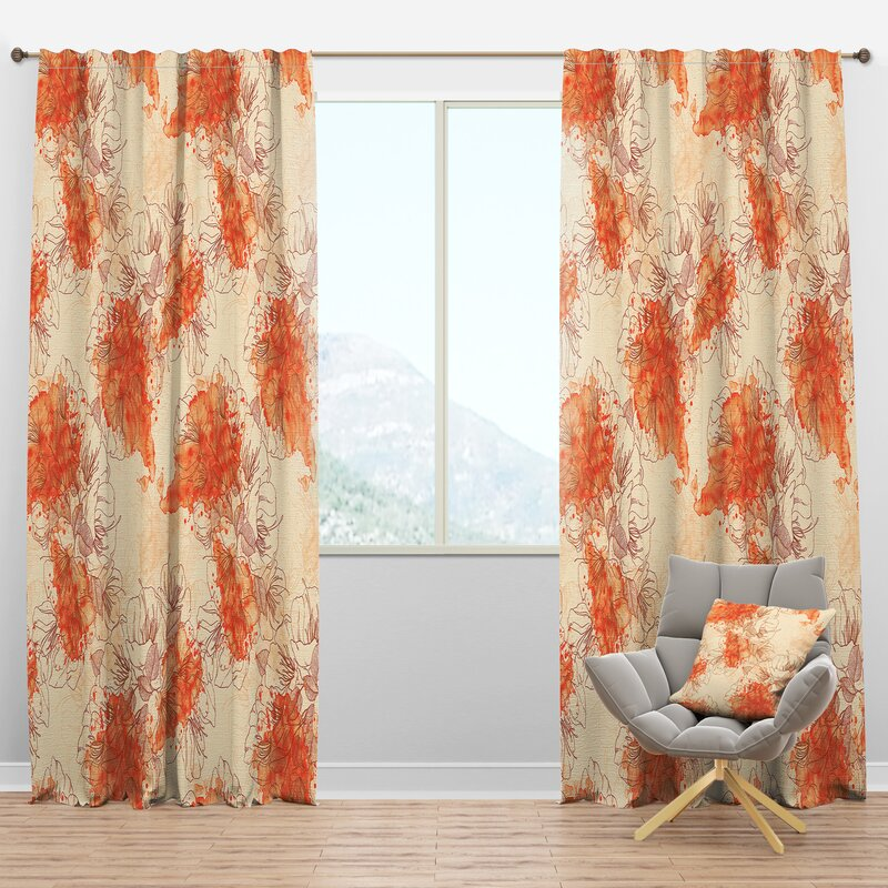 Designart Handdrawn Asian Floral Semi Sheer Thermal Rod Pocket Curtain Panels Wayfair