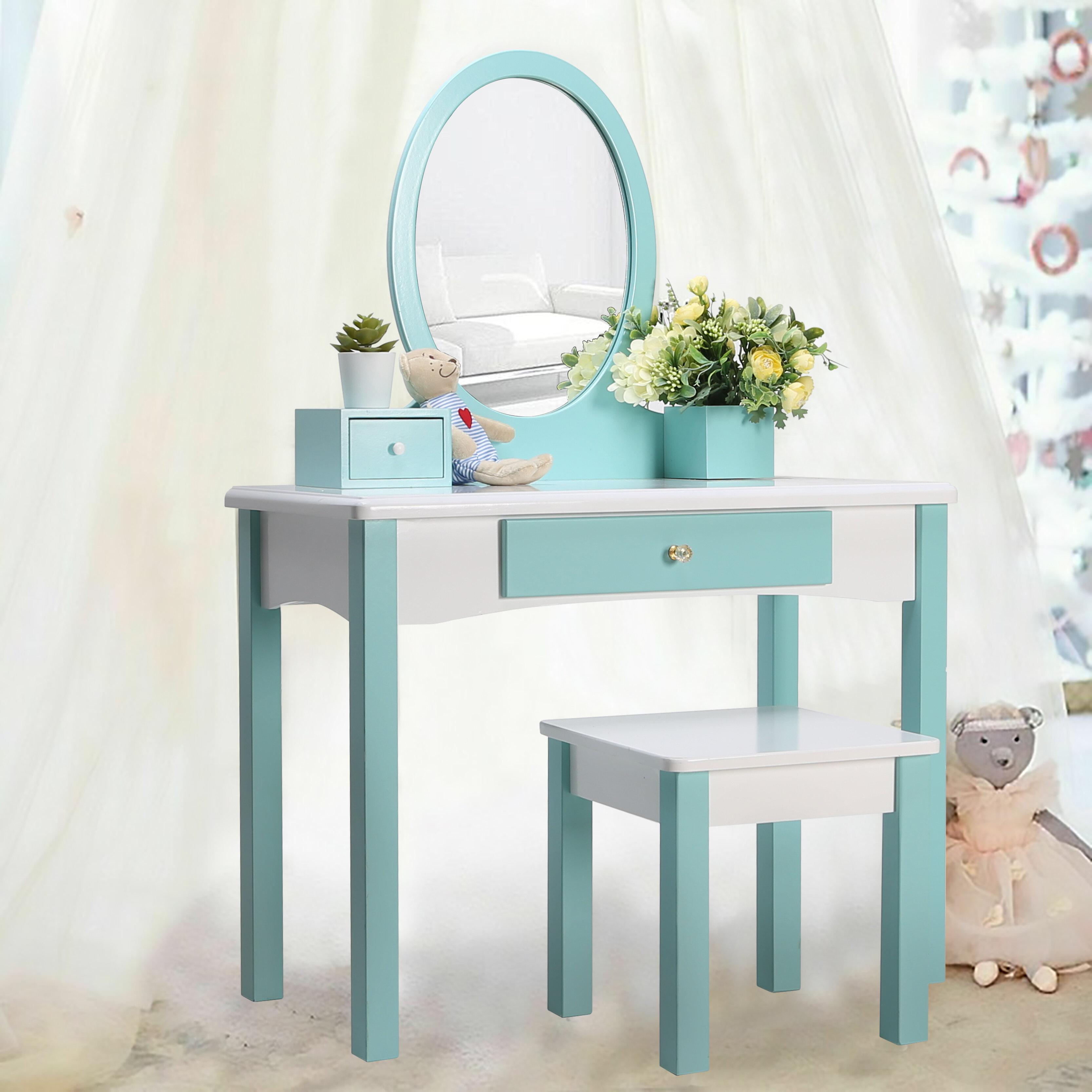 Kids Dressing Table ,Little Princess Rapunzel Girls, Wooden Dressing Table  Vanity Set With Mirror & Stool,Oval Mirror Set, Vanity Table,Playroom