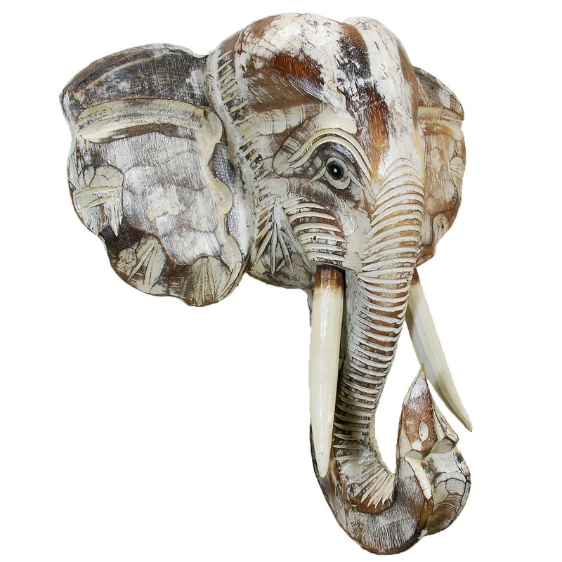 Elephant Head Carving Wall Hanging Decor Classic Handmade Art Resin Collectible
