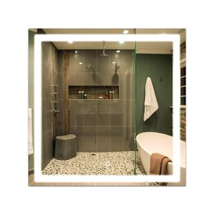 Virenque Modern and Contemporary Frameless Lighted Bathroom Mirror by Ebern Designs