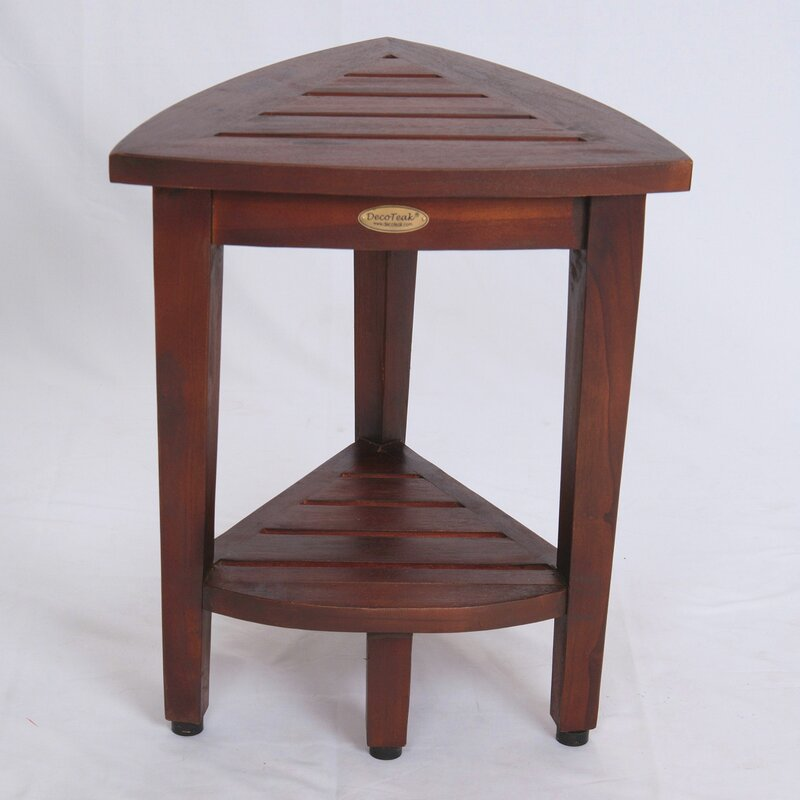 Decoteak Oasis Compact Teak Corner Shower Seat & Reviews | Wayfair