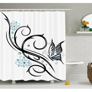 Great deal Tattoo Leaf like Design with Flowers and a Flying Butterfly Image Shower Curtain Set By Ambesonne