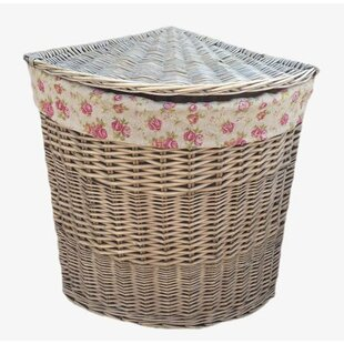 Large Round Wicker Laundry Basket With Garden Rose Lining