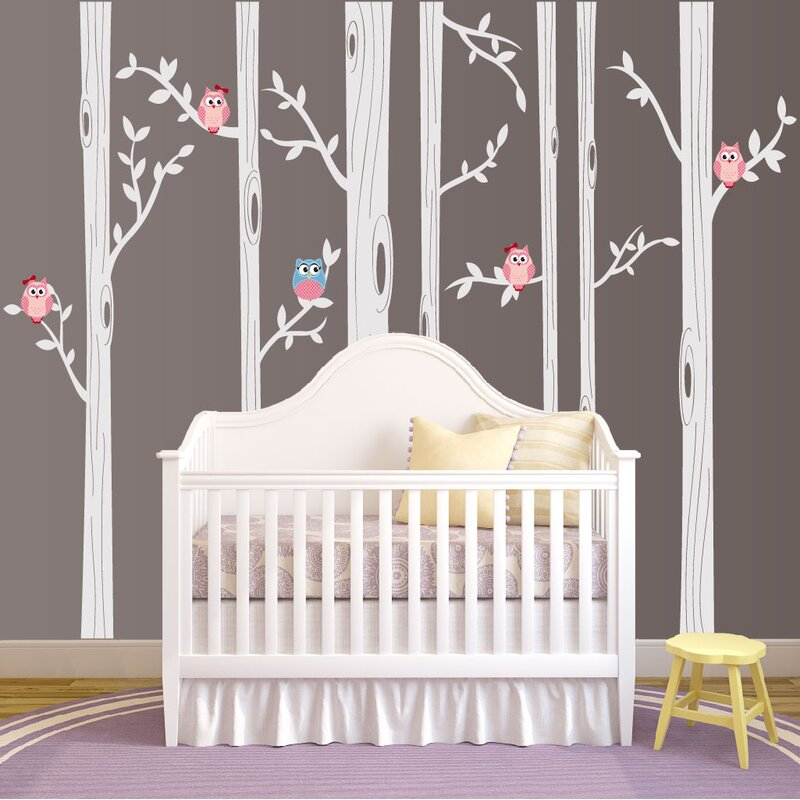 Nursery Birch Tree Wall Decal with Owl Birds Forest & Innovative Stencils Nursery Birch Tree Wall Decal with Owl Birds ...
