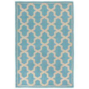 Elam Hand-Tufted Turquoise/Cream Indoor/Outdoor Area Rug