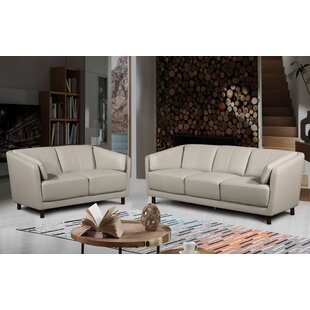Govan Modern Mid-Century 2 Piece Leather Living Room Set by Orren Ellis