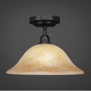Kash 1-Light Beige Semi-Flush Mount
