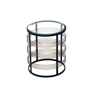 Malcom Glass Top Frame End Table By Wrought Studio