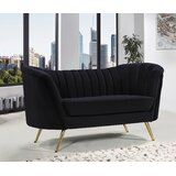 "Lilo Velvet Chesterfield 65"" Round Arm Loveseat"