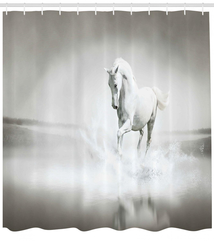 Horses Shower Curtain Set Hooks
