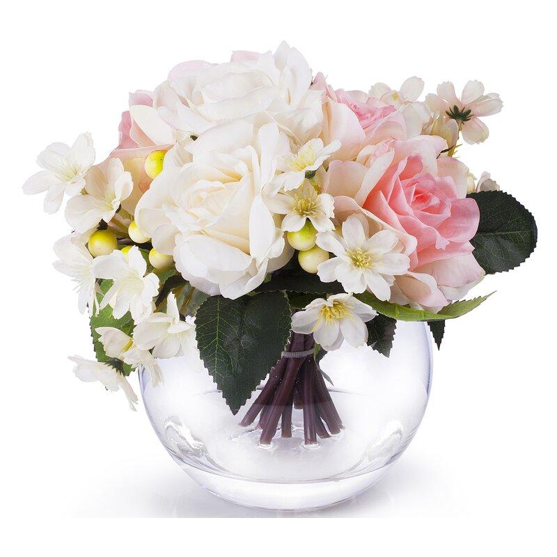 Mercer41 Mixed Rose Silk Floral Arrangement In Round Vase Wayfair