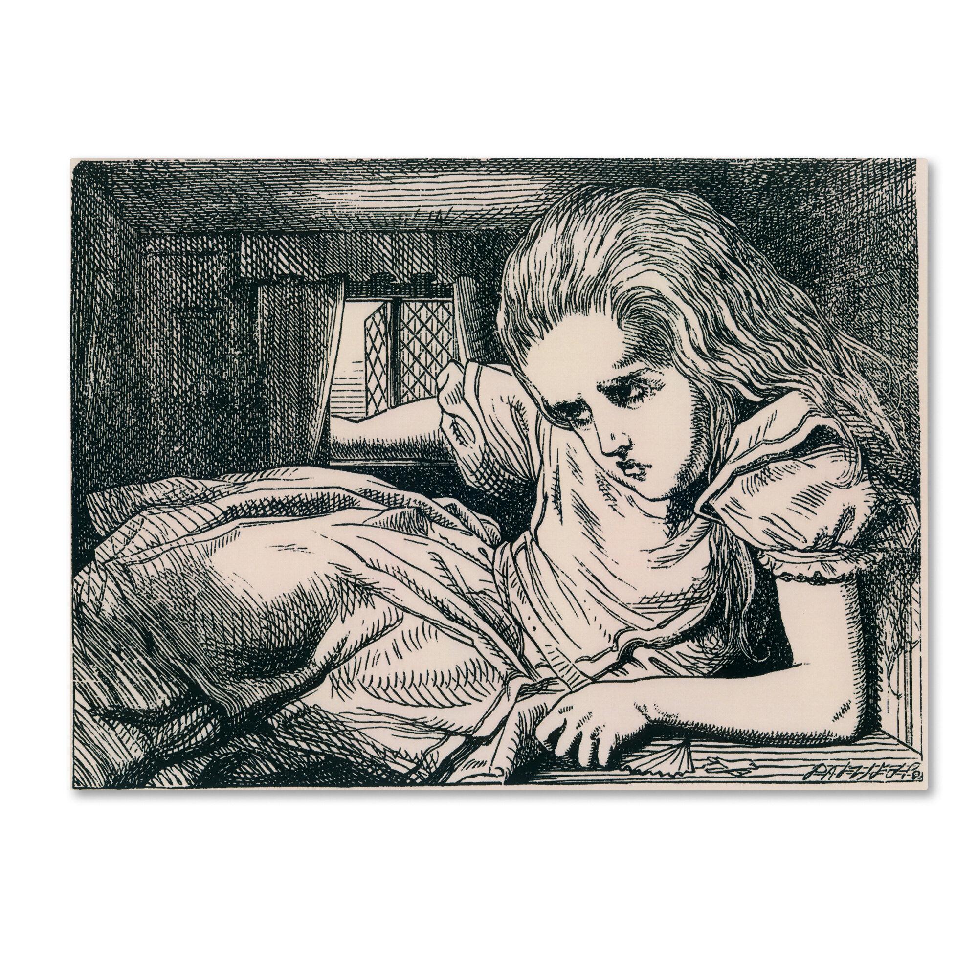 Trademark Art Alice In Wonderland Drawing Print On Wrapped Canvas Wayfair
