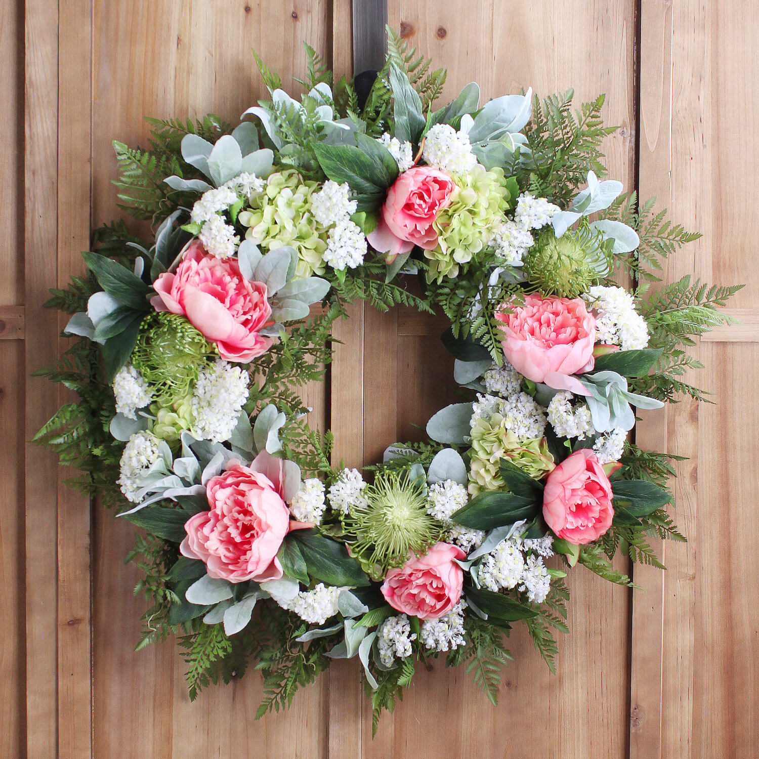Hydrangeas and Dahlias; Rose Pink Green Large Summer Spring Wreath for Front Door Decor; 24 Inch; Peonies Cream