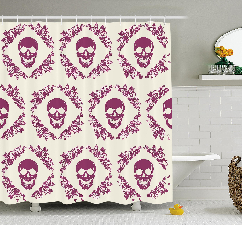 Ambesonne Skull Decorative Monochrome Calavera Surround By Circle Wreath Print Shower Curtain Set