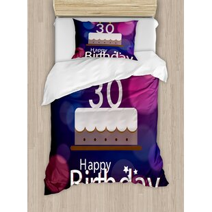 30th Birthday Decorations Graphic Cake with Candles on Abstract Bokeh Background Duvet Set by Ambesonne