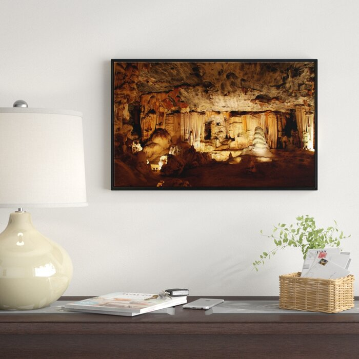 Dark Cango Caves South Africa Framed Photographic Print On Wrapped Canvas