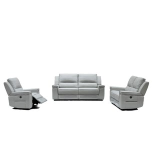 Shop For Colmar Reclining Leather 3 Piece Living Room Set by Orren Ellis Reviews (2019) & Buyer's Guide