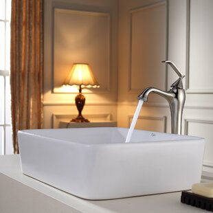 Kraus Bathroom Combos Ceramic Rectangular Vessel Bathroom Sink with Faucet