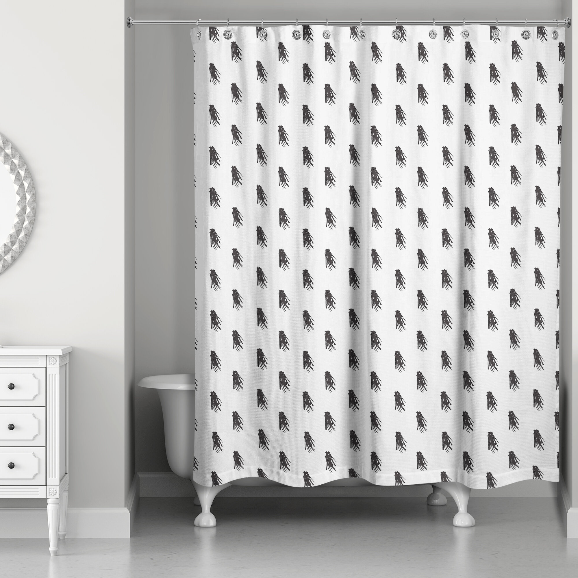 Brayden Studio Nowell Tassel Print Shower Curtain | Wayfair