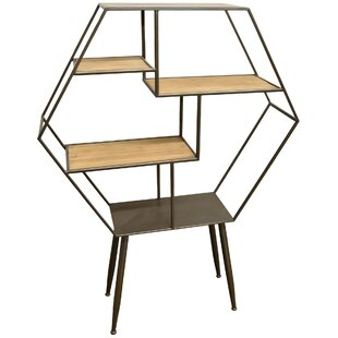 Bramblett Wood and Metal Shelf Geometric Bookcase by Corrigan Studio