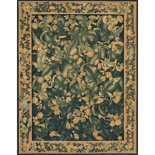 Find the perfect Rogers Sumak Hand-Woven Wool Yellow/Dark Green Area Rug By Bloomsbury Market