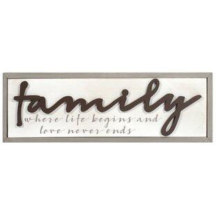 Family Cursive Words Wall Décor